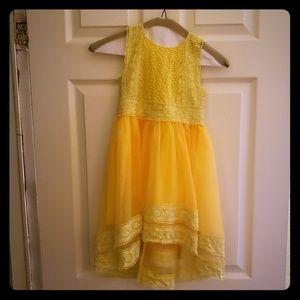 Yellow organza hi low lace dress